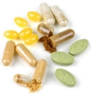 five different supplement pills and tablets
