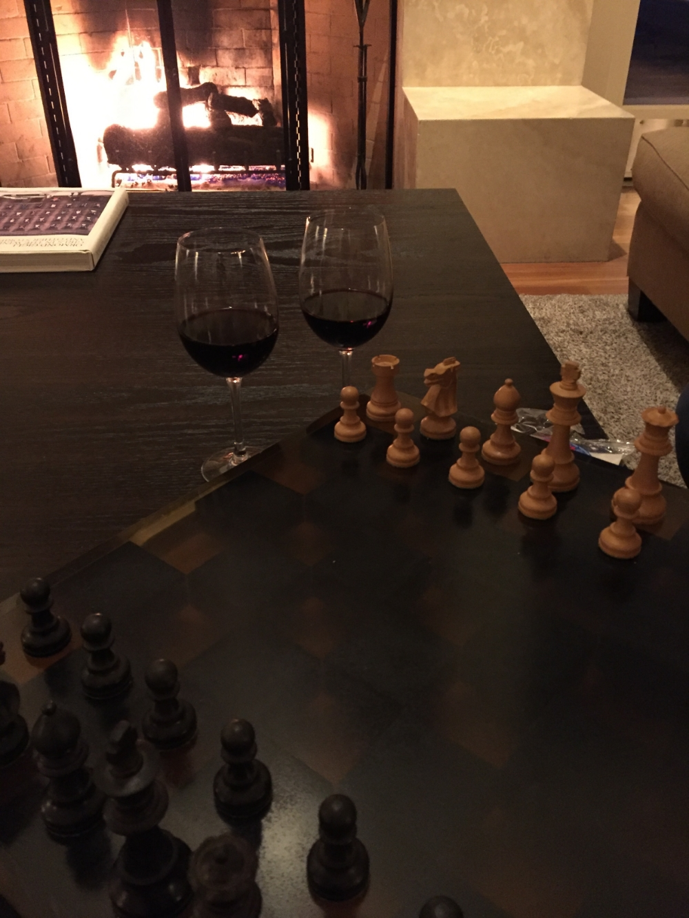 A game of chess, 2 glasses of wine, and a fireplace. Life's Good.