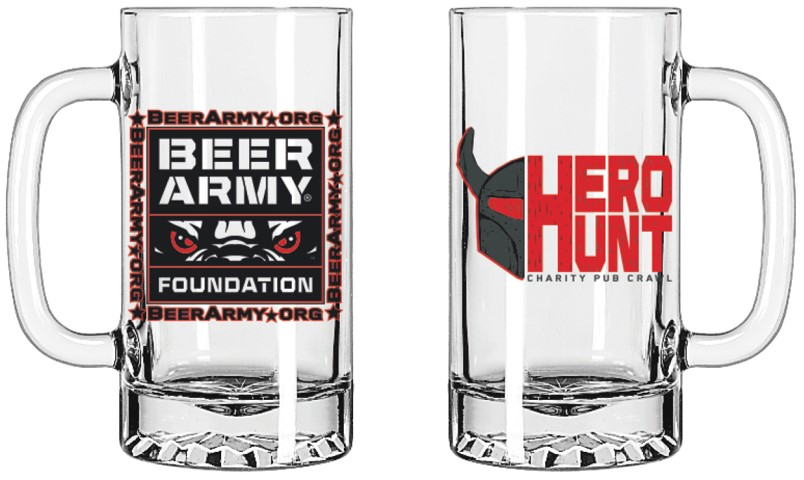 Limited edition 16 oz glass Tankard mug for the first 150 individuals that purchase tickets for Hero Hunt.