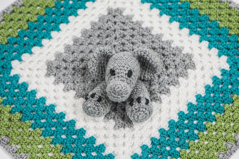 Amazon.com: Crochet Elephant Lovey, Security Blanket, baby shower ... | 1000x1500