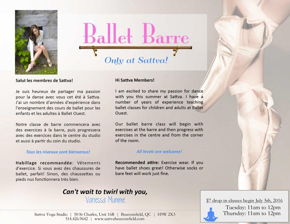 ballet barre sattva beaconsfield west island montreal