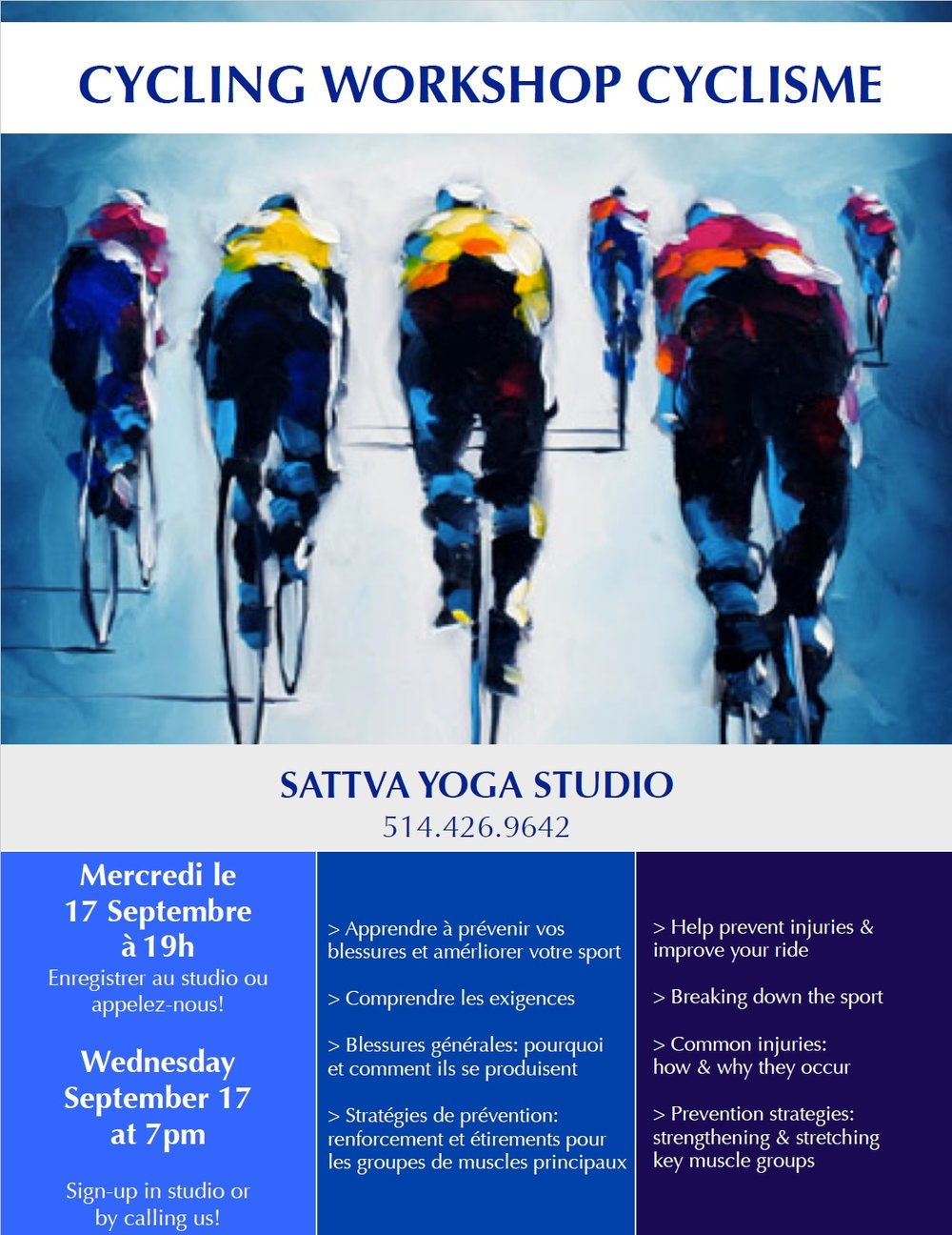 cycling workshop sattva beaconsfield west island montreal