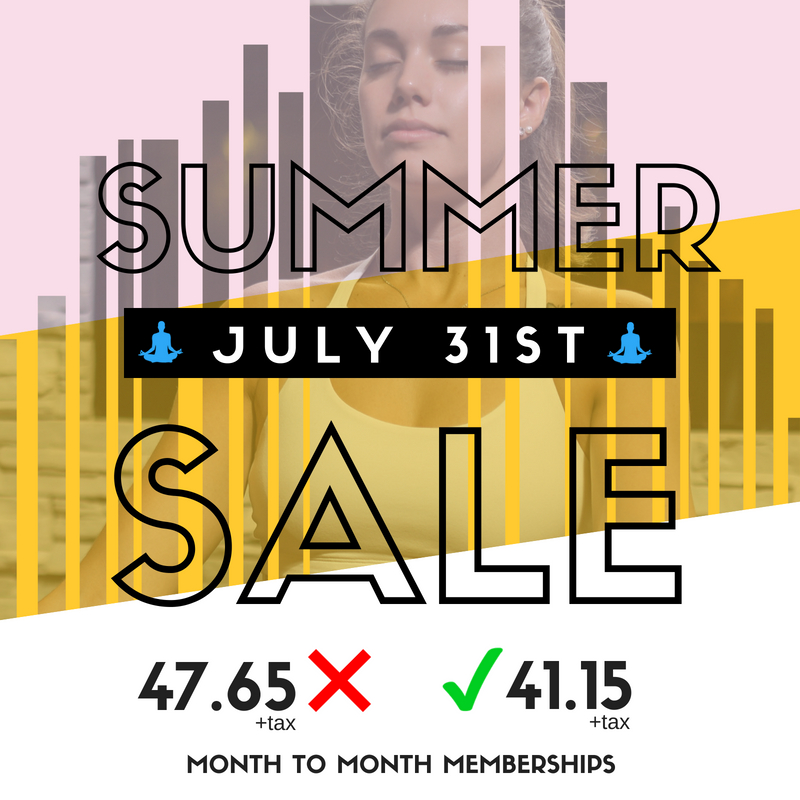 Save on our memberships on July 31st only!  Month to month memberships, 2 month minimum!  For the first 15 people only!