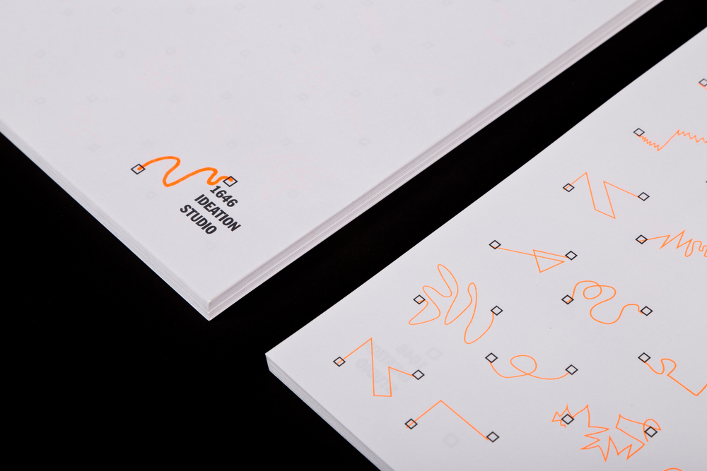 1646 Ideation Studio Visual Identity   Year:  2014  Deliverables:  Logo, signage, and business system including, business card, letterhead, and envelopes.  The main objective in creating a mark for our studio was to create a visual identity that is representative to both our design practice and approach. Our studio–at its core–works within the field of graphic design as a means to problem-solve, explore, make, and generate results. Doing so, we work on both personal and client based projects. Every client, project, and audience is different and demands specific and unique processes to create the most successful results. With the ability to work within any form of media and the interest to tackle any project, 1646's design practice and process is always in flux and constantly evolving for the better.  Often times, even the strongest logos have the potential to be outgrown, remaining stagnant while the brands or institutions they represent are ever growing and changing. Embracing our fluxes and continual evolution, we wanted a mark that could change and evolve with us. Year after year, project to project. Our mark had to represent the potential of the unknown and embrace the unforeseeable certainty of change.  1646 does not believe in the idea that something starts at nothing. We believe everything has a beginning, in our case that beginning is an idea. Big or small that idea has the potential to be actualized into a reality. 1646 Ideation Studio utilizes graphic design to generate original conceived ideas into realities that generate results.