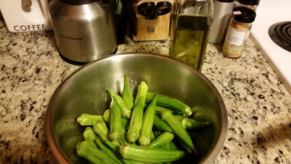 okra marinated with olive oil and Dragon's Breath