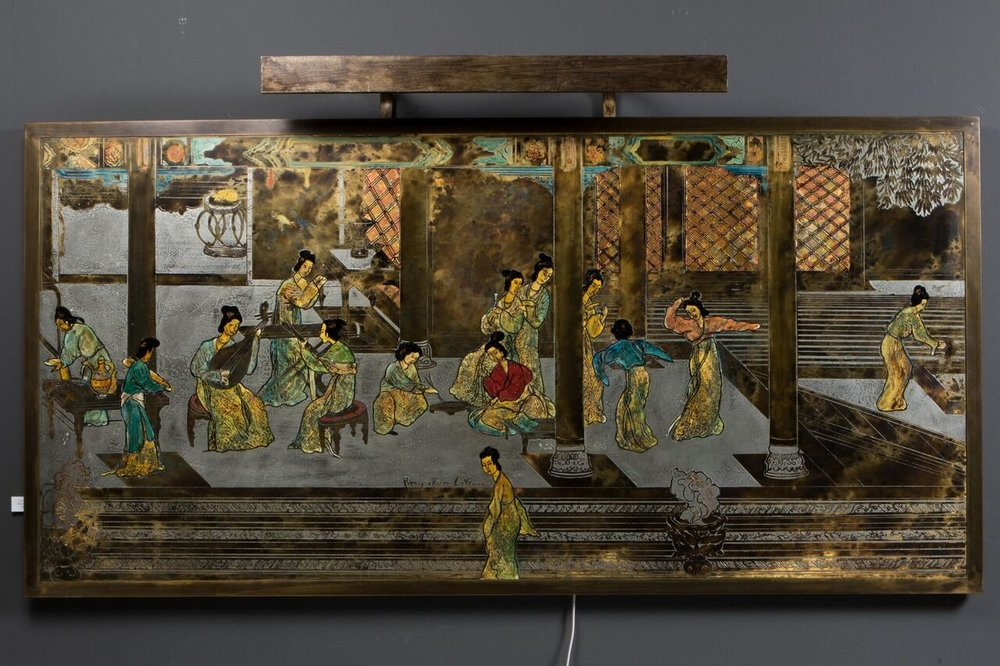 """Kelvin & Laverne Wall Plaque with light Acid etched patinaed brass and pewter wood 60 1/4 """" x 30"""" h $11,244"""