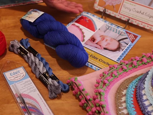 Learn to Crochet on the edge with the Edgit! video click here. Learn to Crochet on the Edge with the Edgit! Learn to crochet on the edge with the Edgit! Piercing & Crochet Hooks. Perfect for beginners. Ideal for crocheting edges around blankets, burp pads, aprons, kitchen towels, and more! The Edgit! Piercing Hook has an optimal tip for smooth piercing, you don't need to punch holes on your fabric; you can also pierce through two layers of flannel.