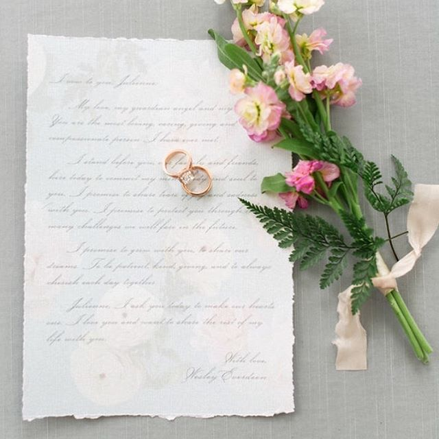 What is said on paper, is what is said from the heart. Keepsake wedding vows. Featured on @stylemepretty. An incredible imagination of ethereal  beauty brought to life by @ashleypigottevents. Shot at @graydonhall_couturecuisine by @corinavphotography, florals @nousdesigngroup, linens and decor @simplybeautifuldecor, chargers, cutlery and glassware @plateoccasions,  video @imageslifemedia , cake @patriciascakecreations , model @plutinogroup @sami_pierre , make and hair @oliviahabeauty , dress and shoes @kleinfeldcanada , jewelry @xamdiamonds , favours @sloanetea
