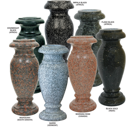 4 x 10 Granite Turned Vases
