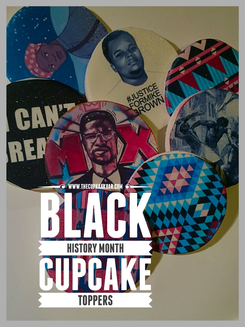 Need just toppers? We make those also theses 100% edible printed fondant black history toppers $40 for 2 dozen. Would you like them on cupcakes? $40 per dozen