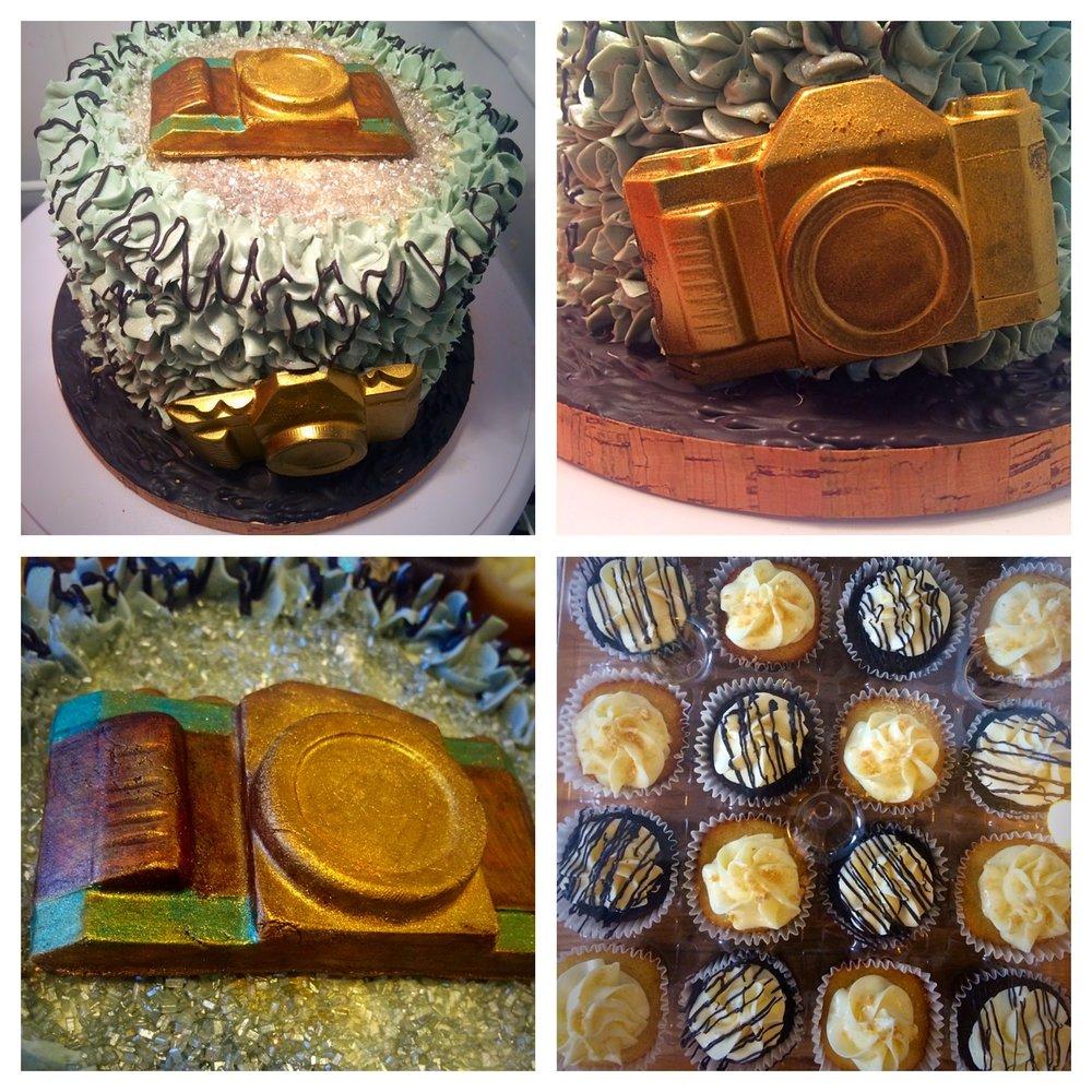 6 inch custom camera cake and 2 dozen cupcake bundle $150