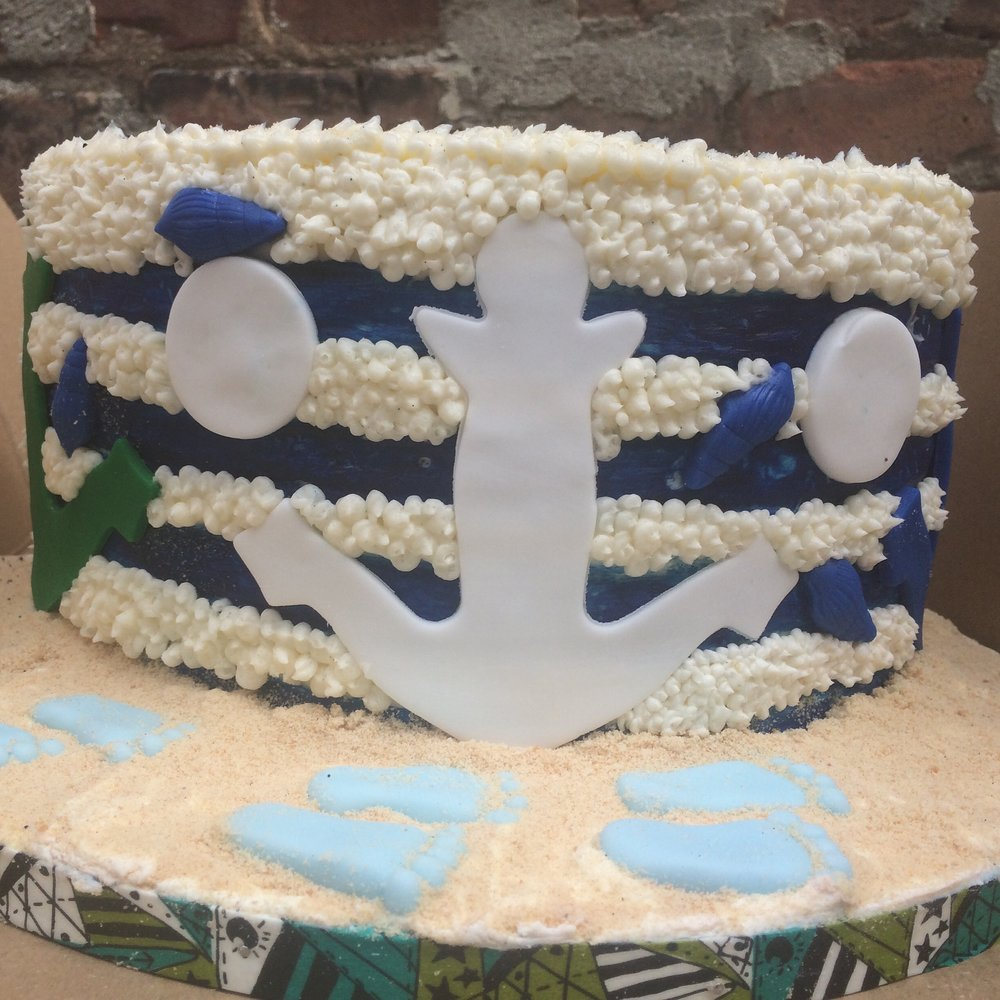 9 inch Sailor theme baby shower cake $195