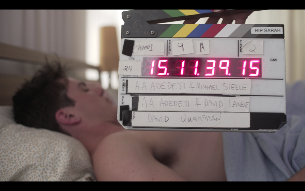Your classic slate shot, wow making movies.