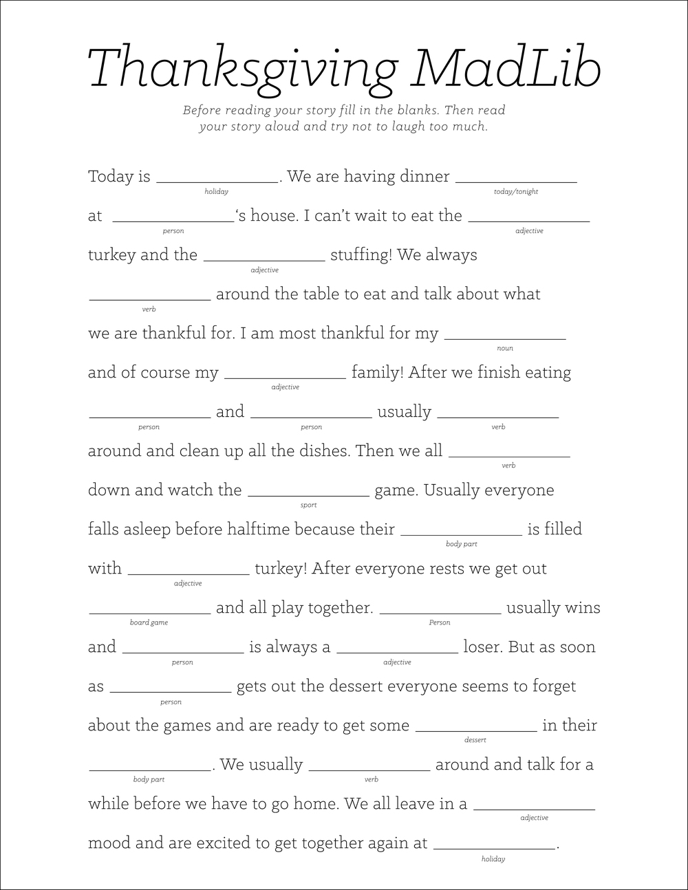 Old Fashioned image inside thanksgiving mad libs printable