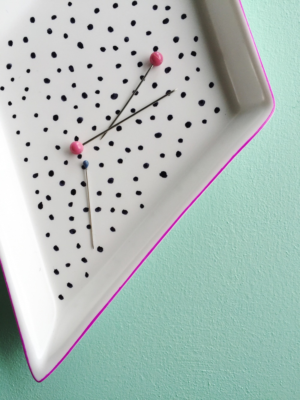 Make your own diy magnetic pin dish.