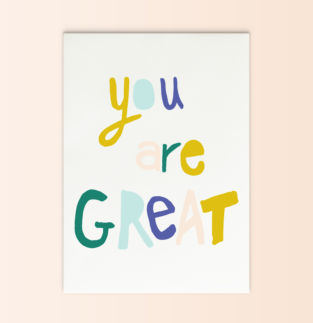 you are great | printable pep talk card + print