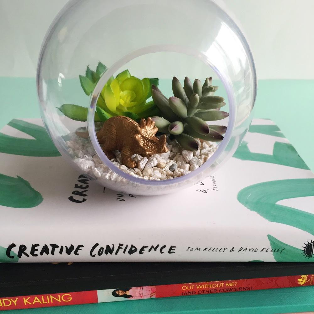 DIY Artificial Succulent + Dino Terrarium