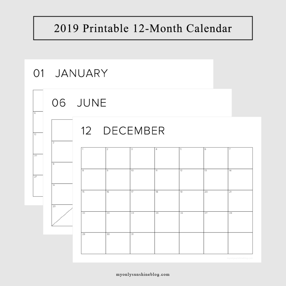 2019 Printable 12-Month Calendar | My Only Sunshine Blog