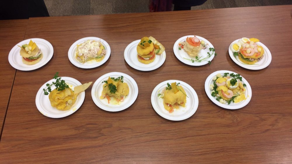 La Causa (a Peruvian dish) Party prepared by the FoodLang Reading Group Members