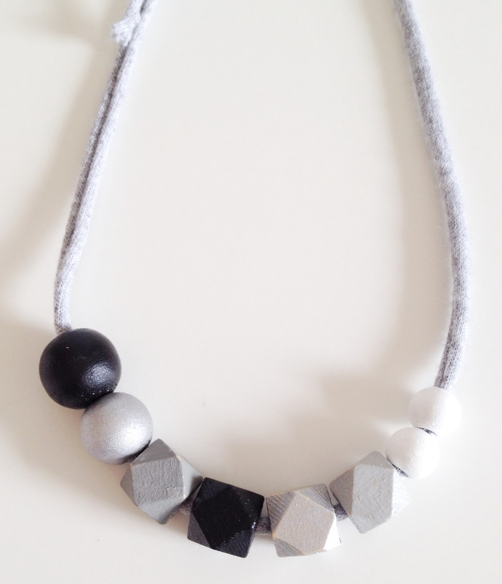 Coral + Cloud black, silver, grey and white geometric and round wooden bead necklace