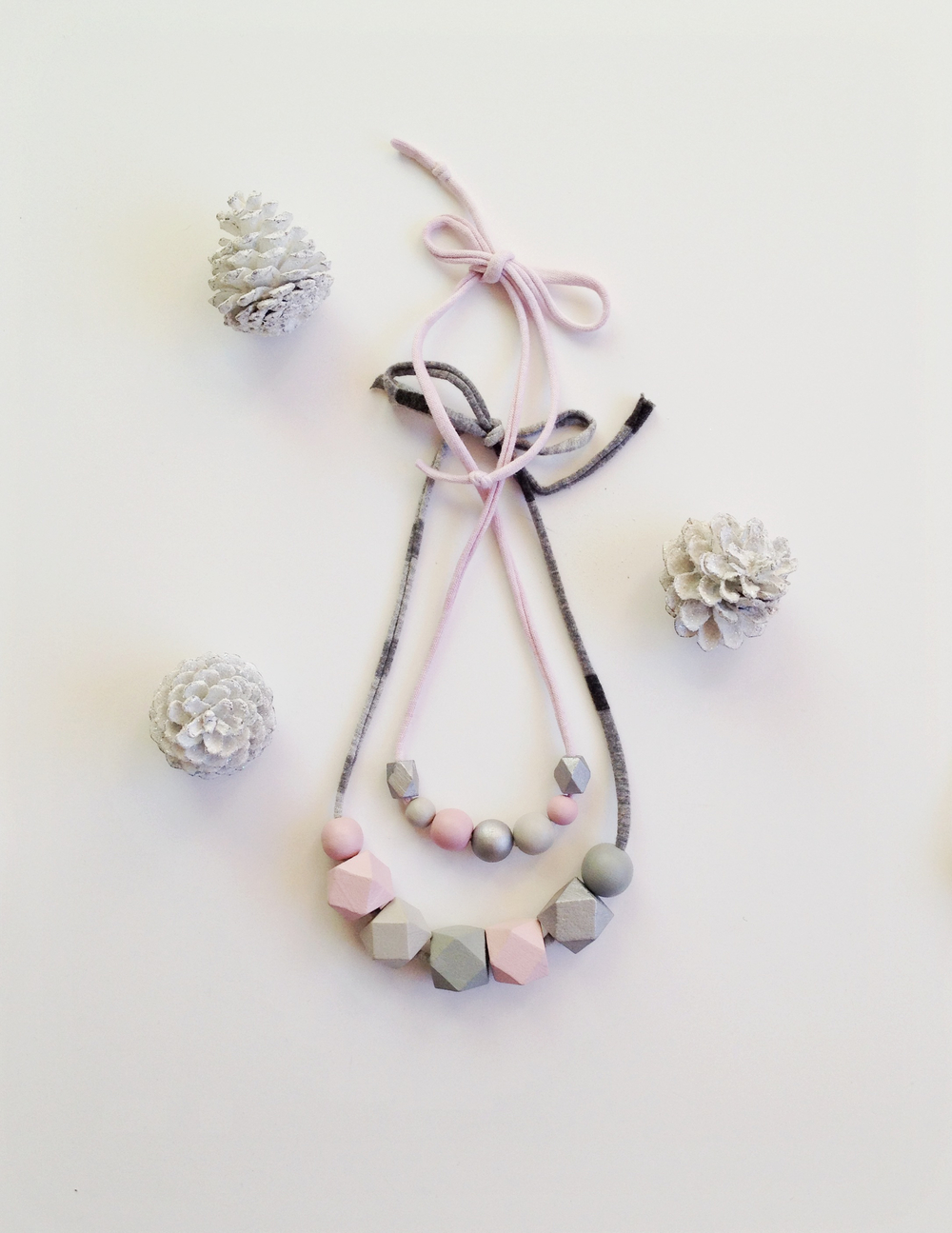 coral and cloud holiday collection silver blush set handpainted necklace