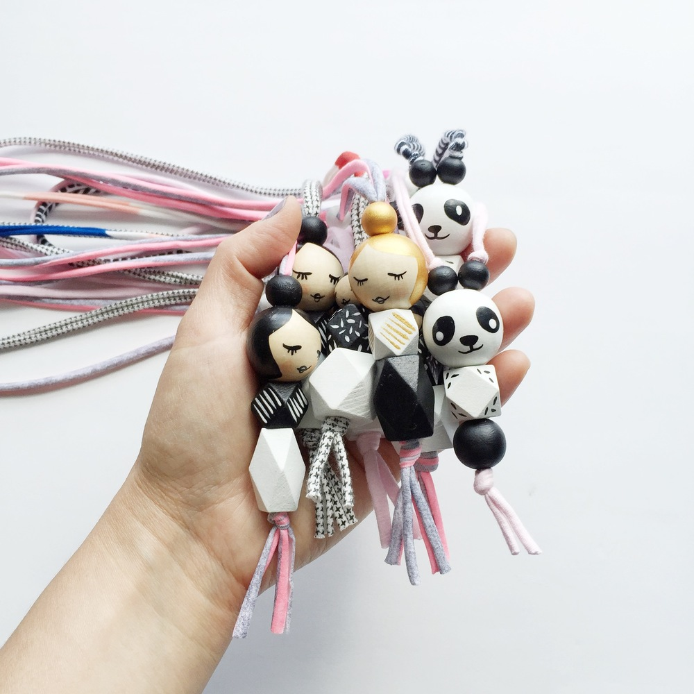 handpainted wood bead kids necklaces