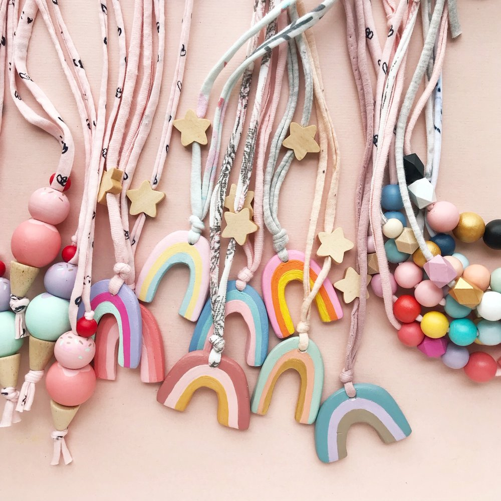 coral and cloud handmade kids necklaces
