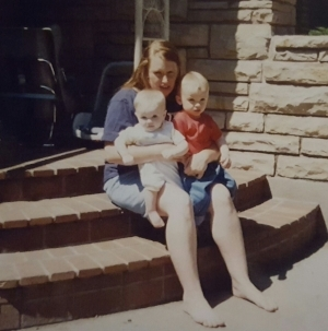 My kids and I on our porch in Provo, UT