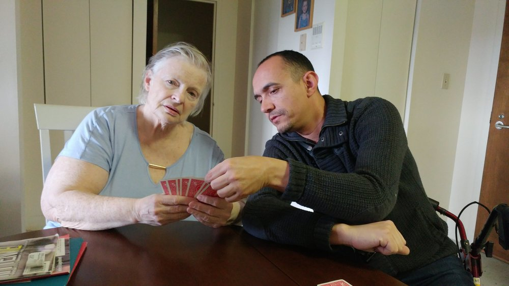 My mom and partner playing cards.
