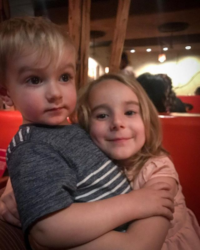 Dinner with the babies. Glad they're best friends.