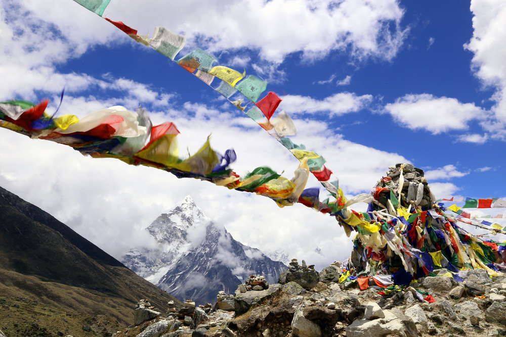 Flying Prayer Flags - Himalayan Region, Nepal