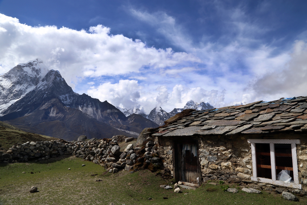 Stone house in the Himalayas