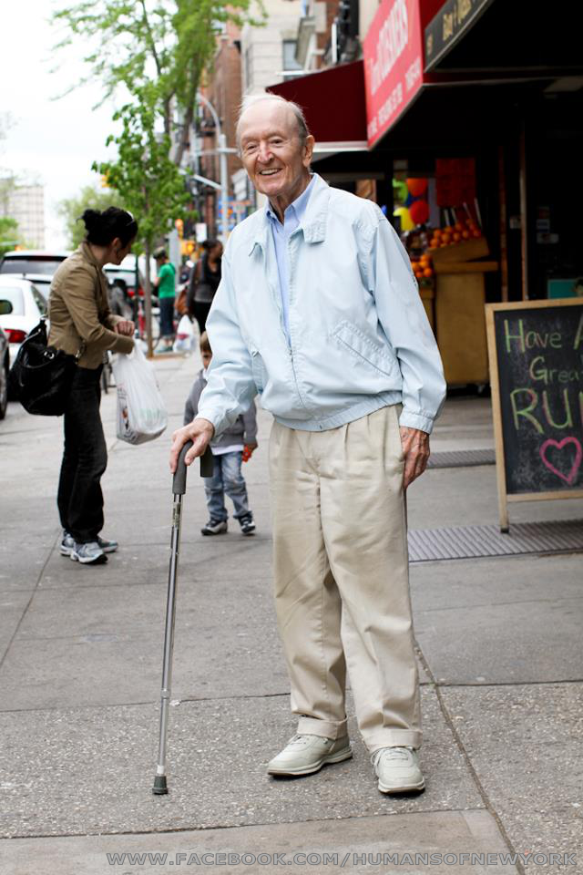 "humansofnewyork: I found this man on 7th Avenue in Park Slope. He was leaning heavily on his cane, looking down, wearing a grimaced face. I felt bad for him, so I smiled and waved when I walked past. His face changed completely. He lit up, smiled wide, and gave me a cheery greeting. There was nothing forced about it. He seemed like a man who went through life looking for the smallest excuses to be happy. I walked 50 feet down the sidewalk, turned around, and walked back to him. ""I want to take your photo,"" I told him, ""because of how big you smiled when I walked by."" He said: ""Well I saw someone smiling at me who I didn't even know. So I thought: 'By God! I Better do something!'""  Whether we realize it or not, whether we are active or passive, we lead with our look and it reflects how we feel  — and to those around us we are telling all and they can tell how we are feeling by just looking at us. So, next time you see a picture or a person that makes you smile – smile back at them.  We might not get to the level of cuteness of this kitten but we certainly will have gone a long way to making each and every day of your life better than the one before!"