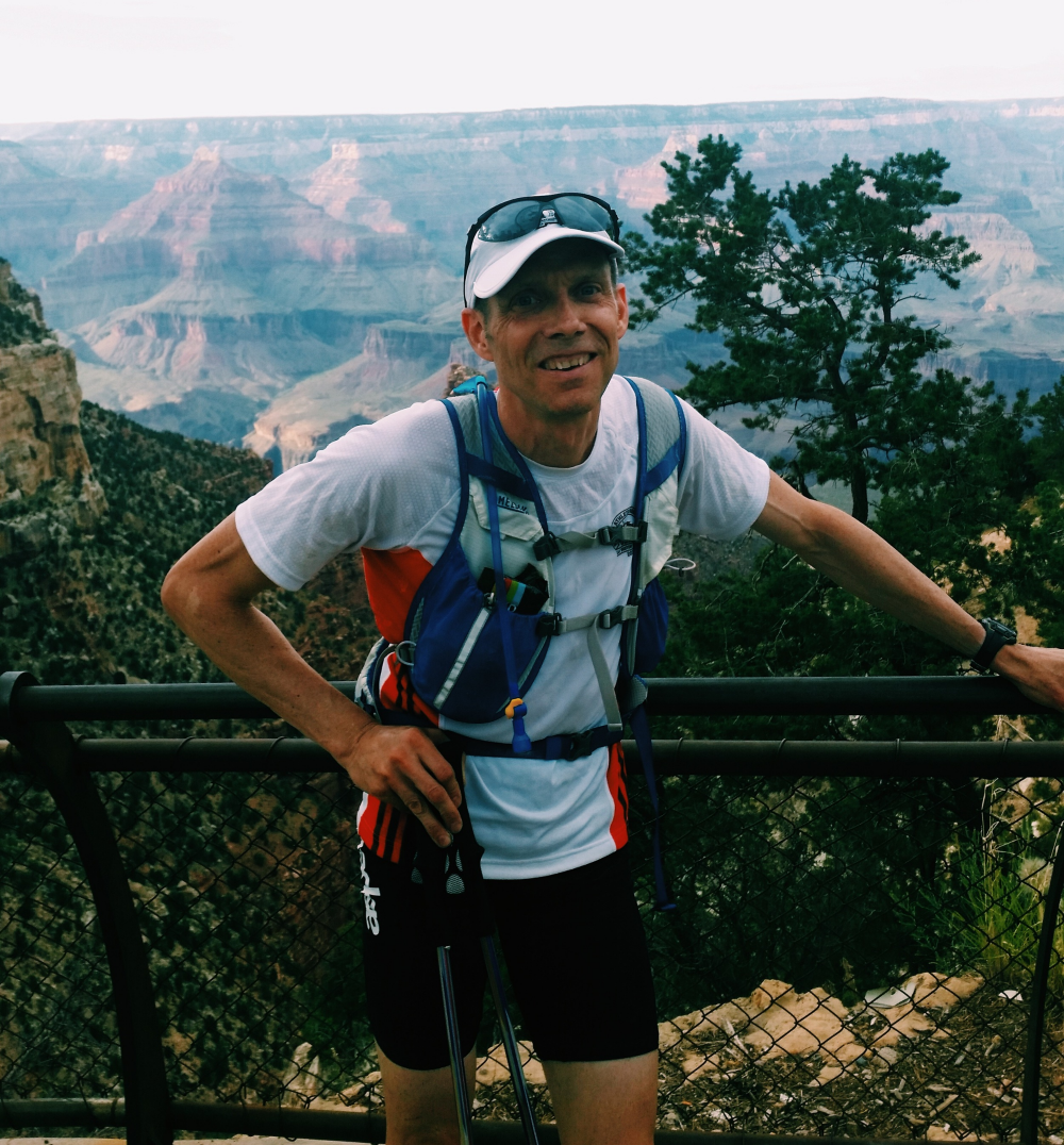 Pausing for a photo as I ran the Rim to Rim to Rim at the Grand Canyon