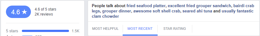 For one of the restaurant accounts we manage, you can see the keywords are centered on great seafood.
