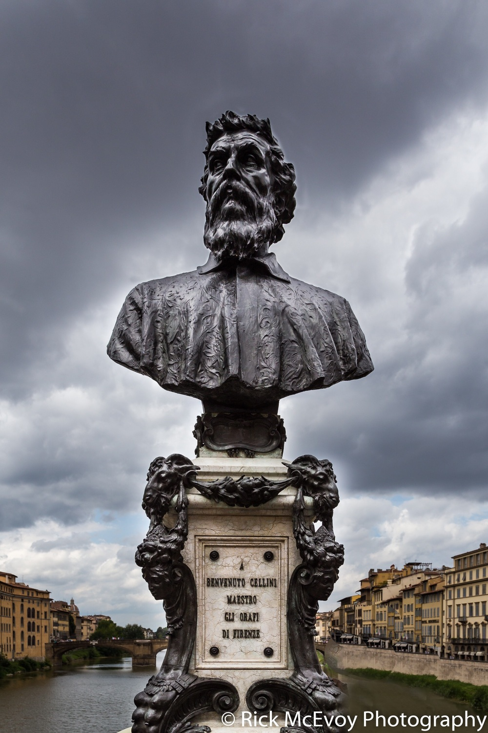 Photograph of the Statue of Benvenuto Cellini which can be found on the World Famous Ponte Vecchio, Florence, Italy