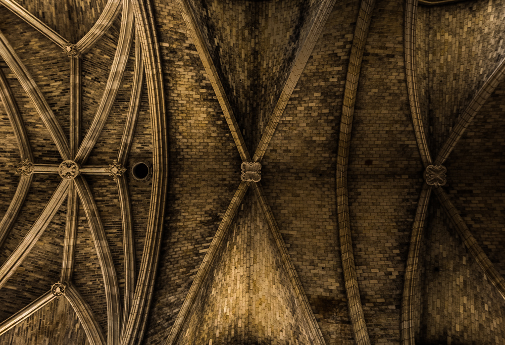 Interior Shot of the ceiling in Bordeaux Cathedral by Architectural Photographer Rick McEvoy