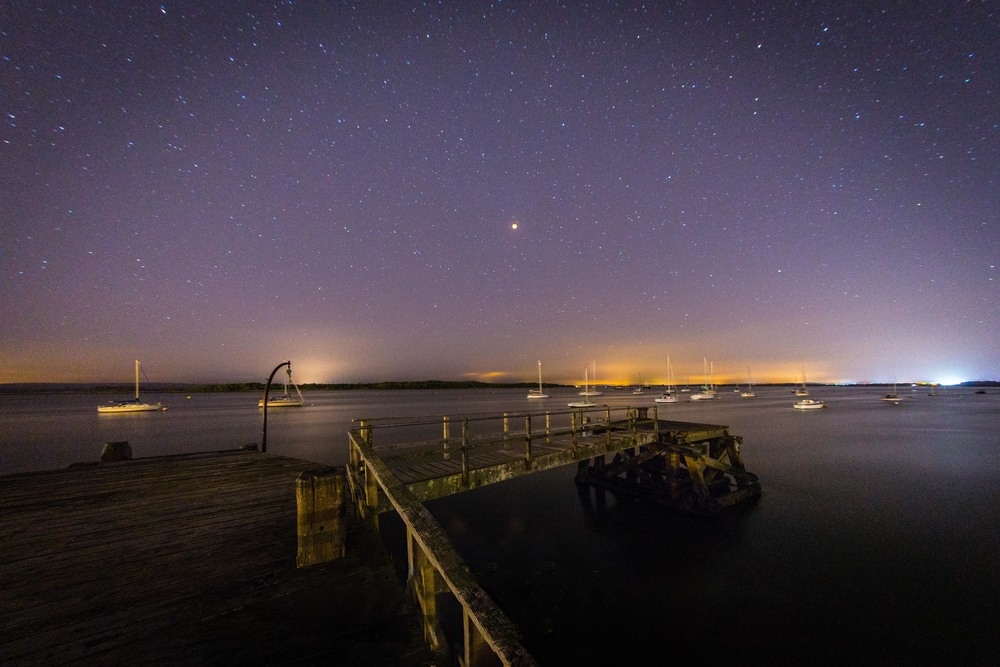 Poole Harbour at night by Rick McEvoy Poole Photographer