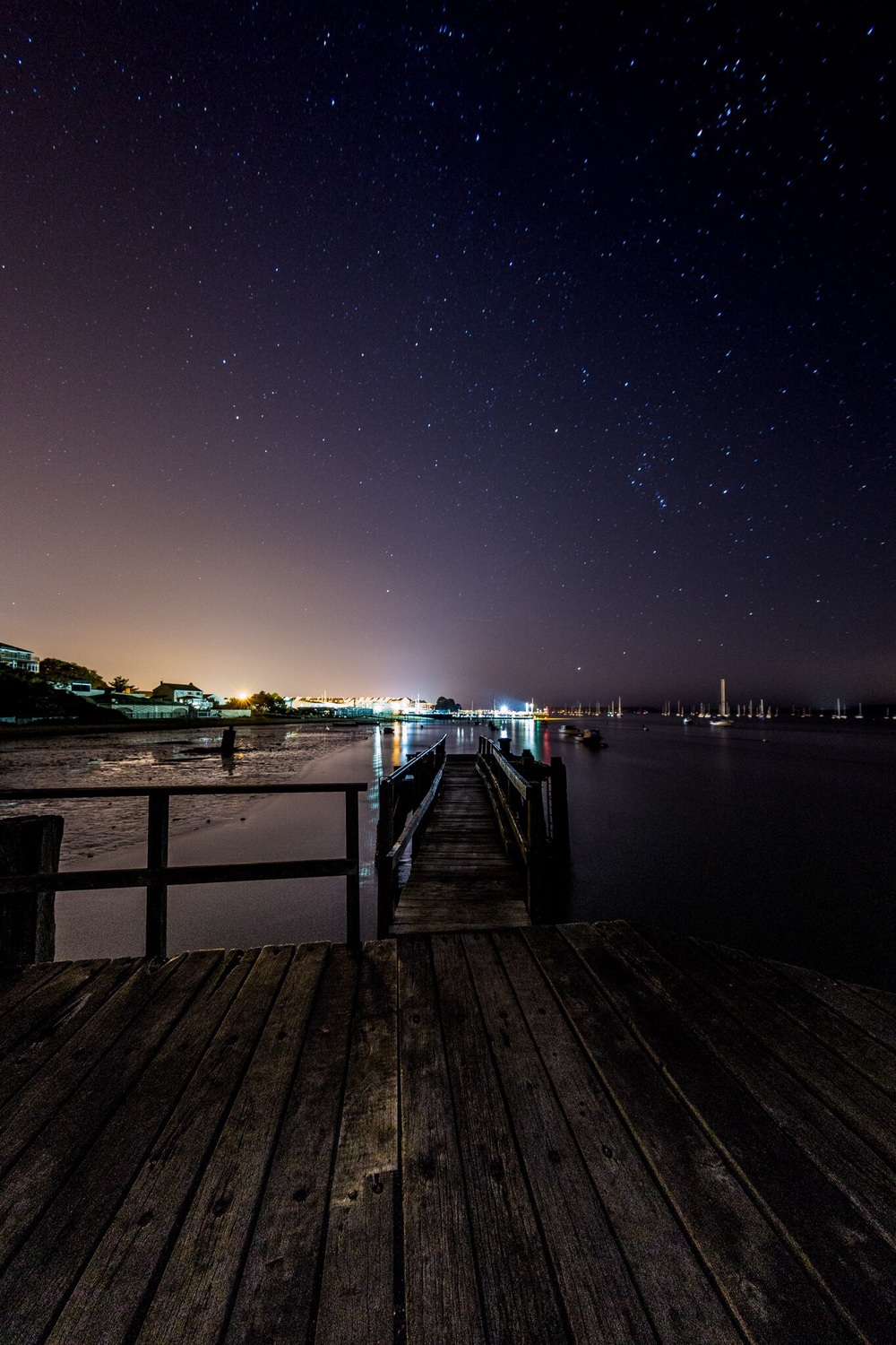 The view towards Poole Port at night from Hamworthy