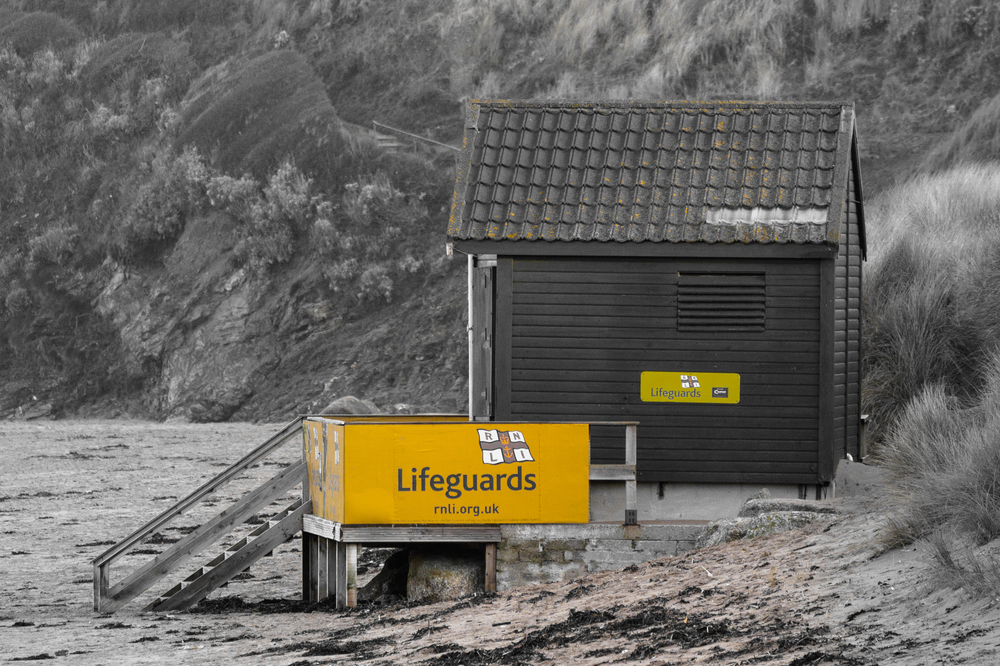 RNLI Lifeguard hut colour tone shot - Cornwall photography