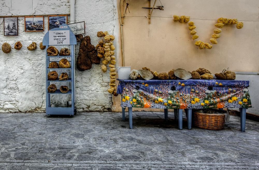 Sponge shop, Symi, Greece, by Rick McEvoy commercial photographer
