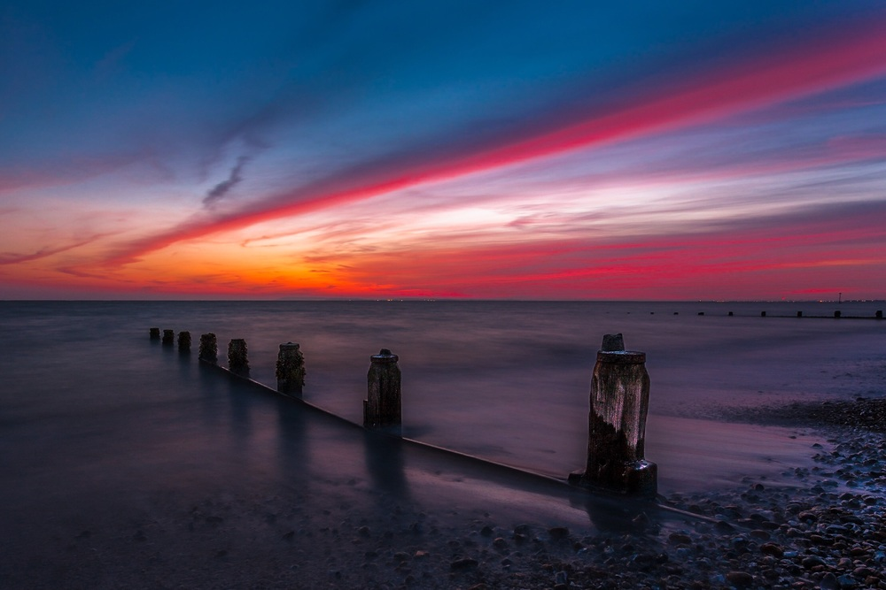 Sunset at Bracklesham Bay in West Sussex