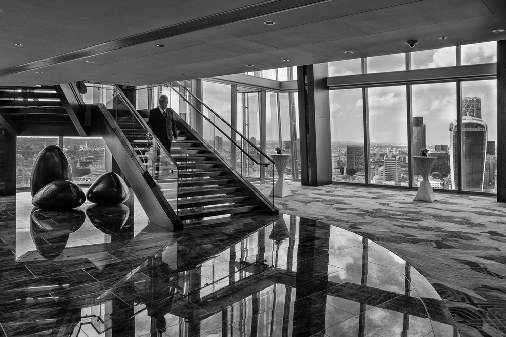 The London Shard - interior photographer shot - Nik Silver Efex edit