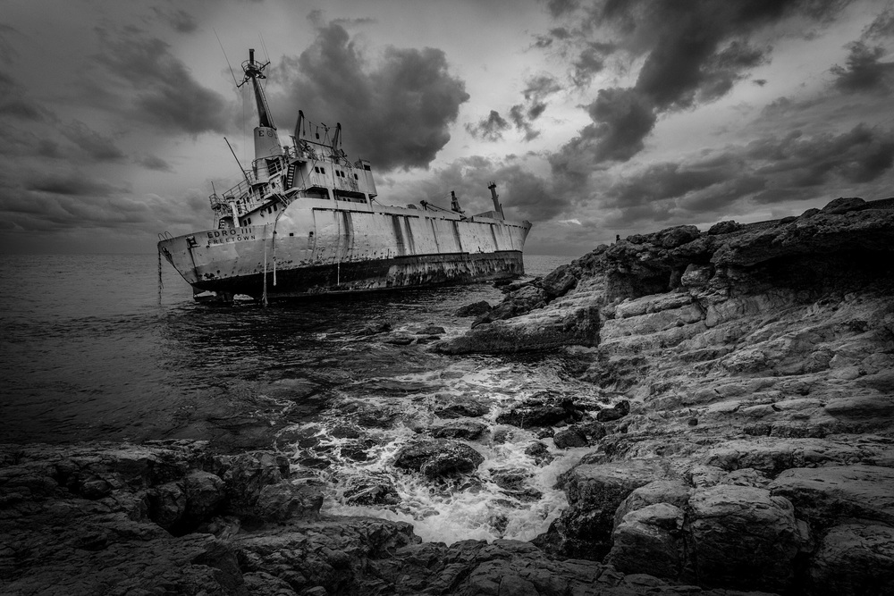 Shipwreck, Cyprus - black and white conversion using Nik Sikver Efex Pro
