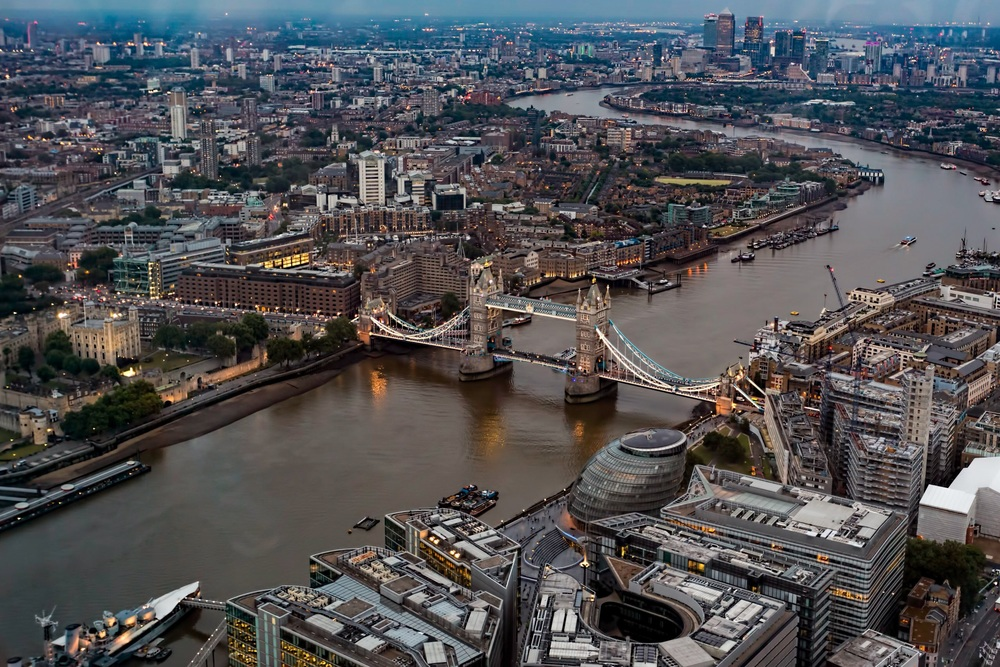 A picture of Tower Bridge viewed from the London Shard