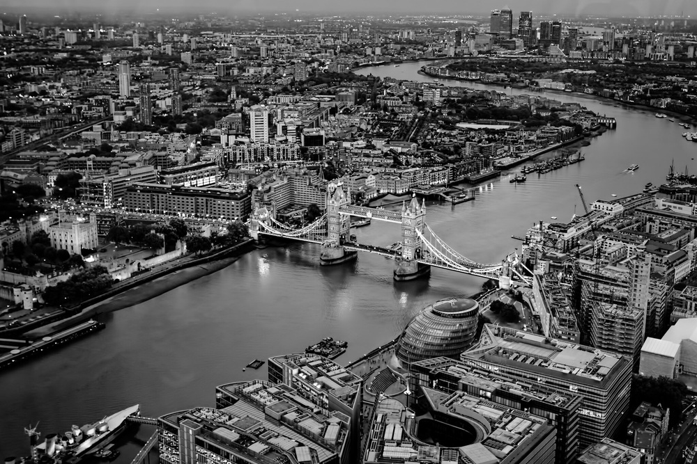 London and Tower Bridge viewed from The Shard
