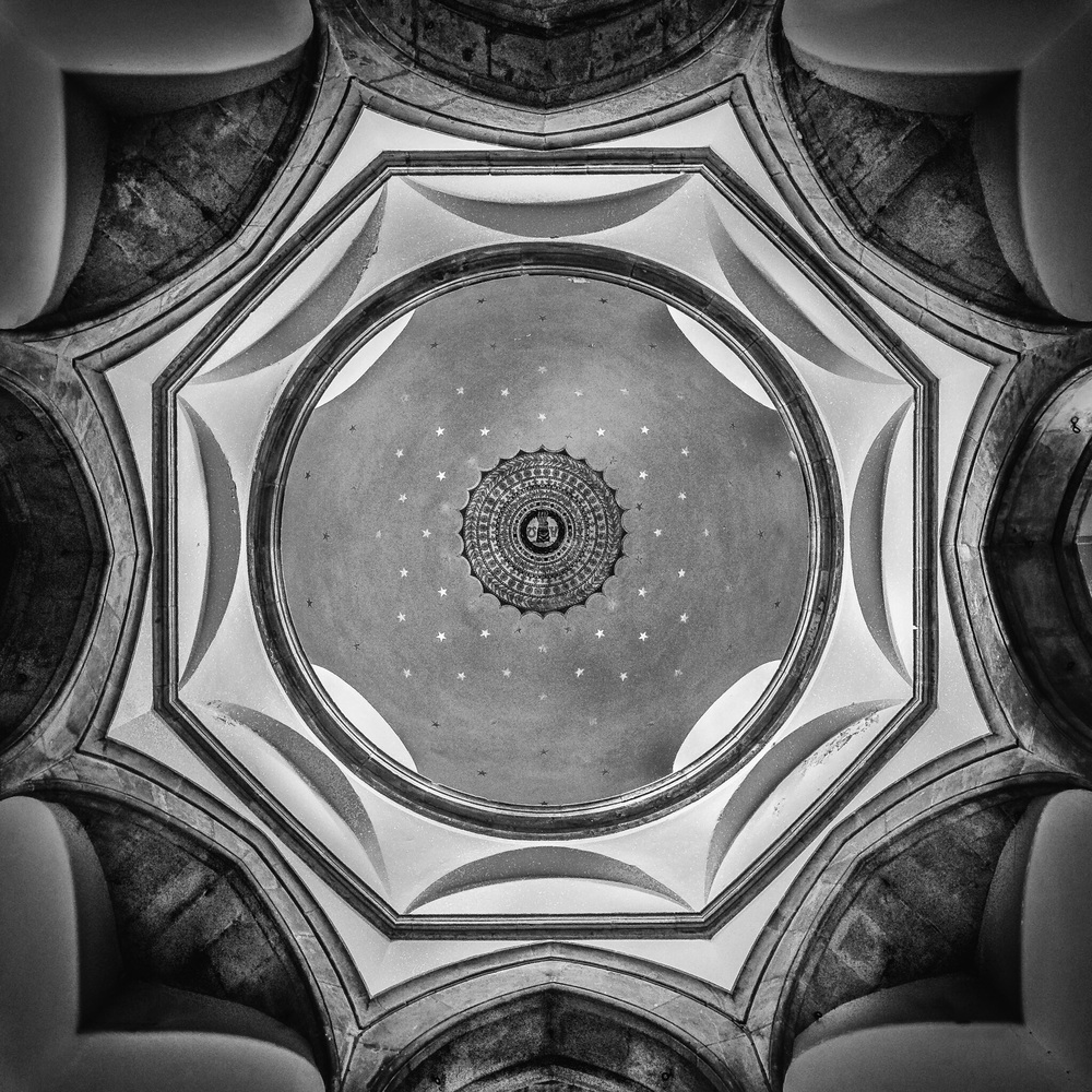 Chideok Church Dome, Dorset - black and white interior photography by Rick McEvoy