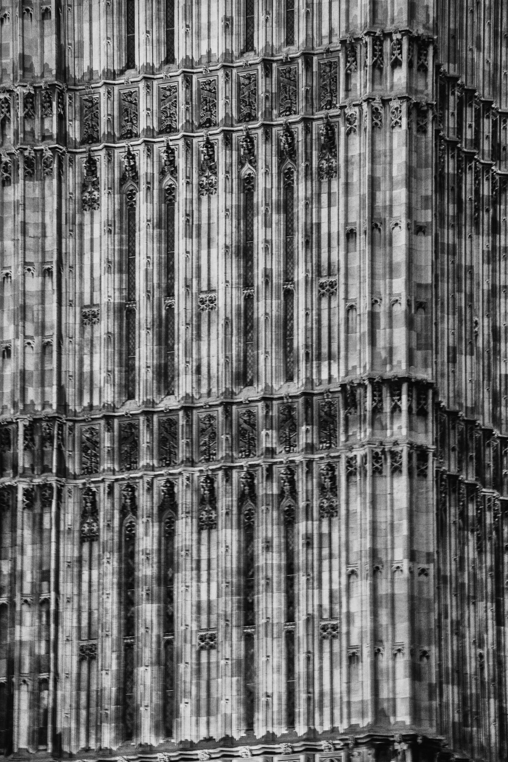 Big Ben, London - black and white close up image