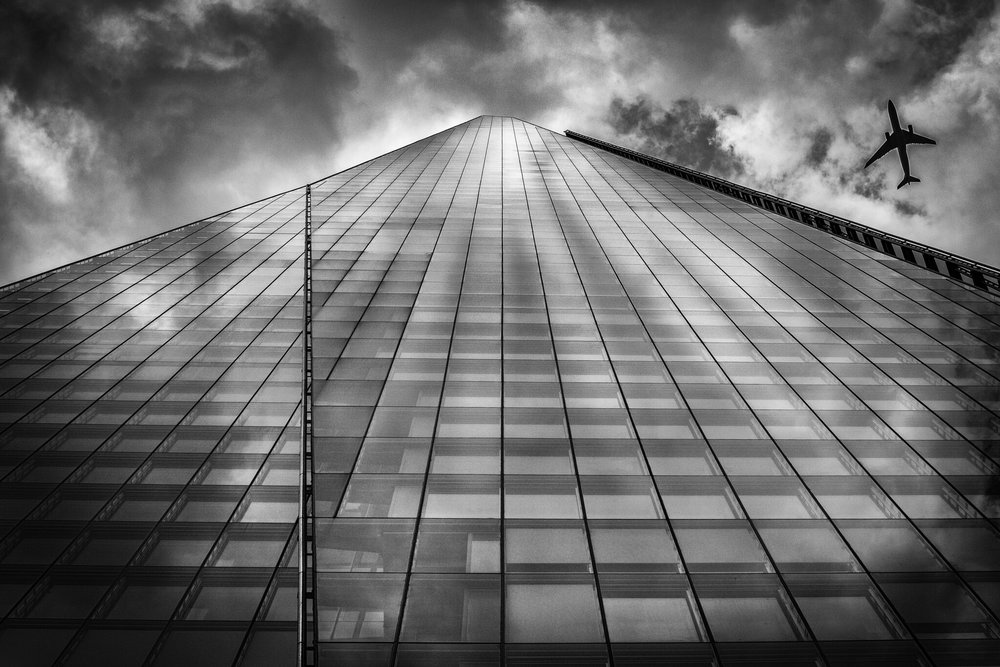 Black and white picture of The Shard, London