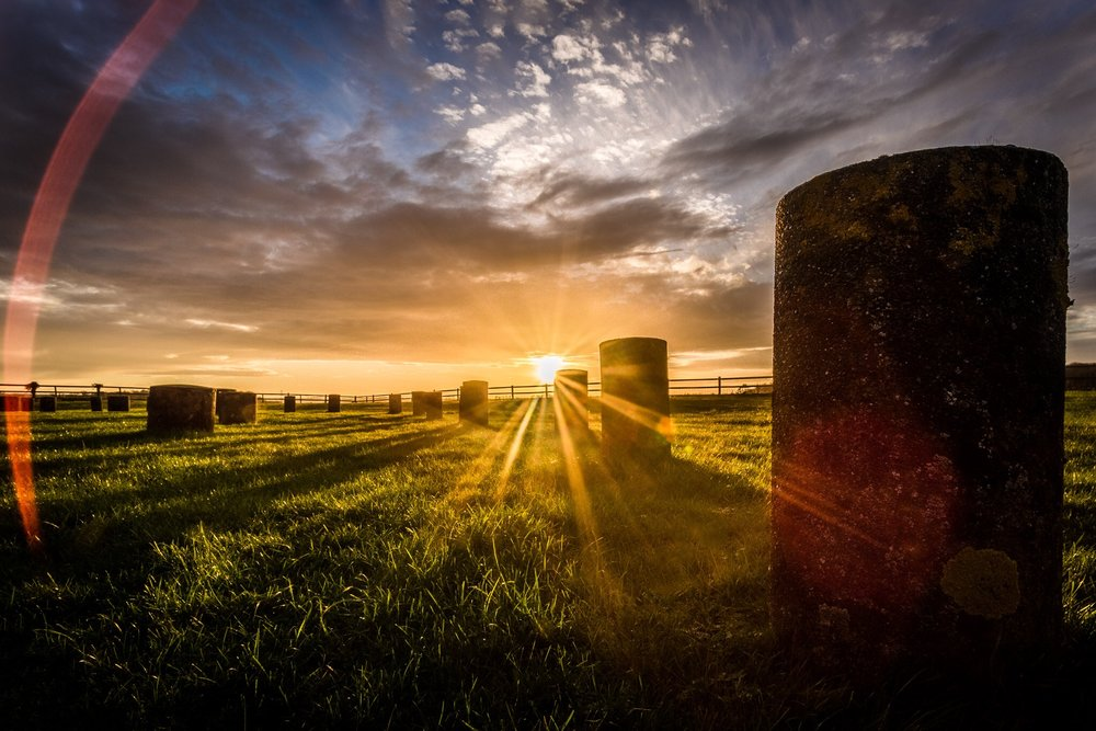 Woodhenge, Wiltshire. Sunshine at this special English Heritage site
